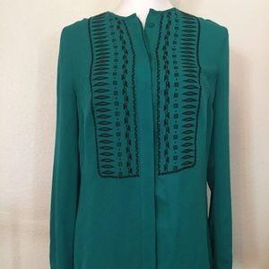 Veronica Beard Green Silk shirt with Black pattern
